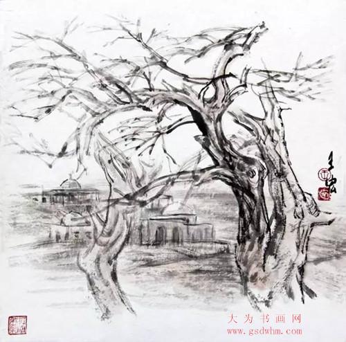 王宏新疆水墨画写生作品